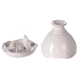 Miniature Holy Family set in openable vase white Deruta terracotta 10 cm s1