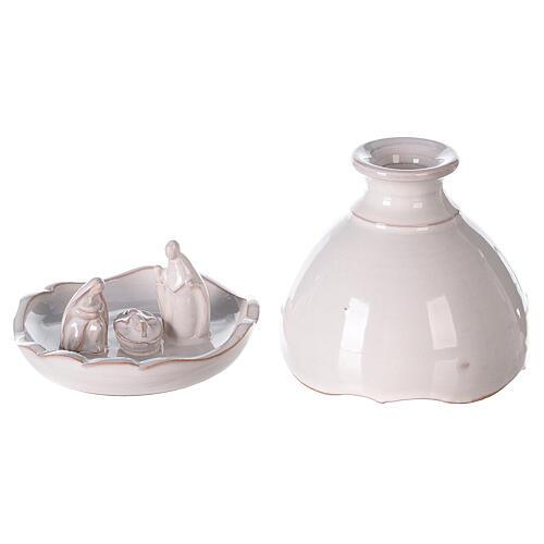 Miniature Holy Family set in openable vase white Deruta terracotta 10 cm 1