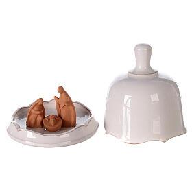 Natività terracotta naturale campanella bianca apribile Deruta 10 cm s1