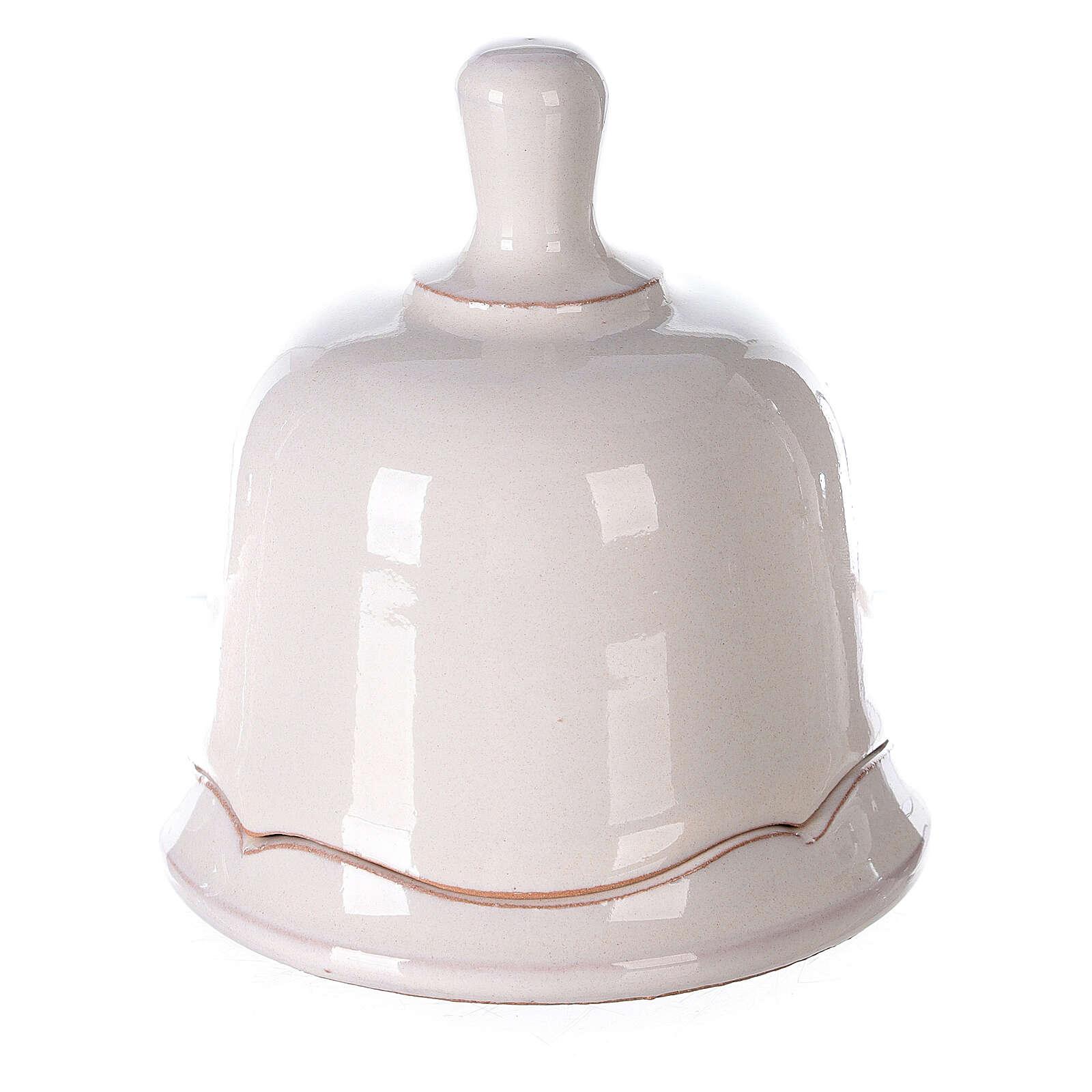 Terracotta Holy Family set in white openable bell Deruta 10 cm 4