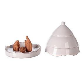 Nativité sapin ouvrant santons terre cuite Deruta 10 cm s1