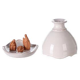Nativity in round open two-tone Deruta vase 10 cm s1