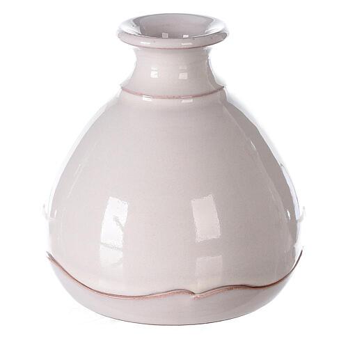 Nativity in round open two-tone Deruta vase 10 cm 4