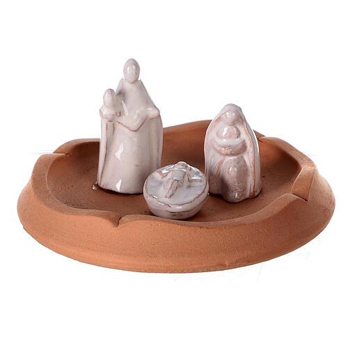 Nativité clochette ouvrante terre cuite naturelle santons blancs Deruta 10 cm 2