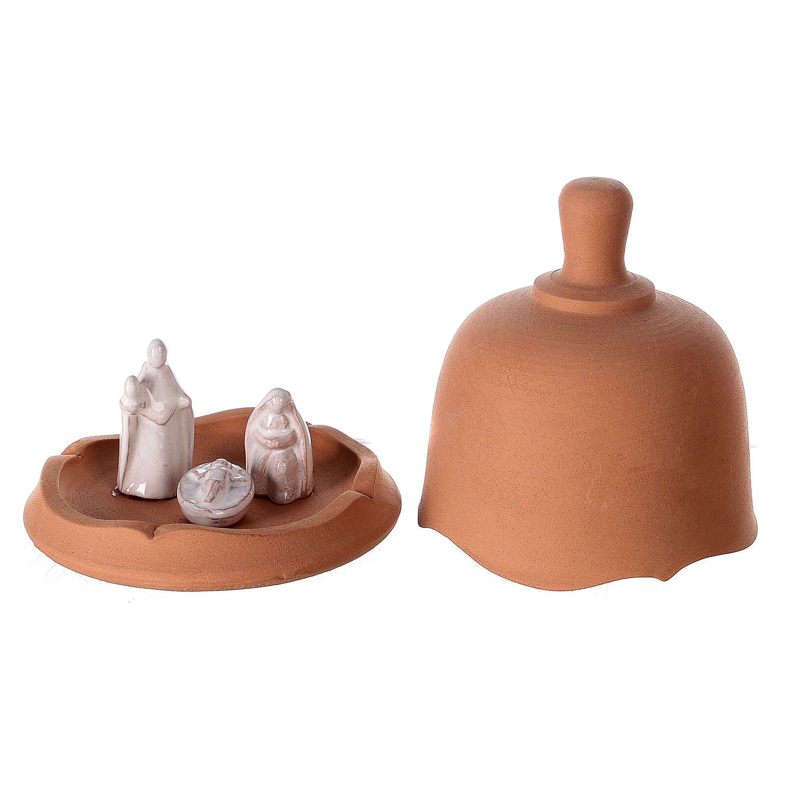 Terracotta Holy Family set in bell openable Deruta 10 cm 4