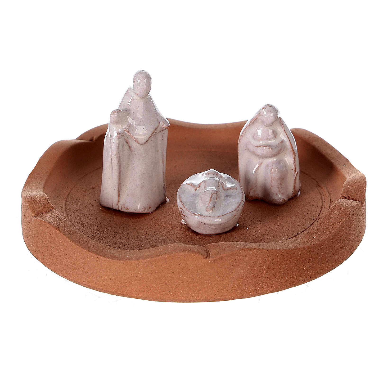 Openable bell with white Nativity Deruta terracotta 10 cm 4