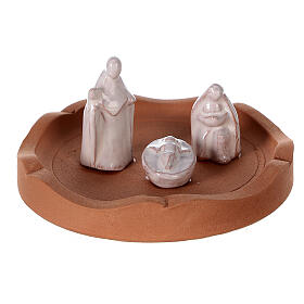 Openable bell with white Nativity Deruta terracotta 10 cm s2