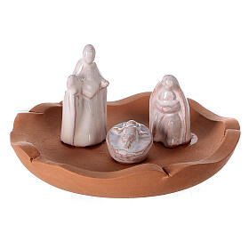 Cut vase with Nativity in two-tone Deruta terracotta 10 cm s2