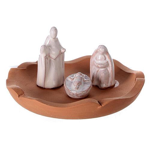 Cut vase with Nativity in two-tone Deruta terracotta 10 cm 2