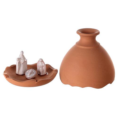 Vase découpé nativité crèche terre cuite bicolore Deruta 10 cm 1