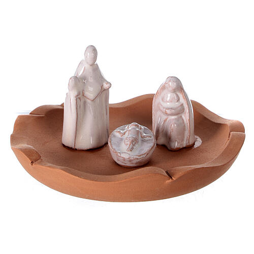 Vase with Holy Family two-toned Deruta terracotta 10 cm 2