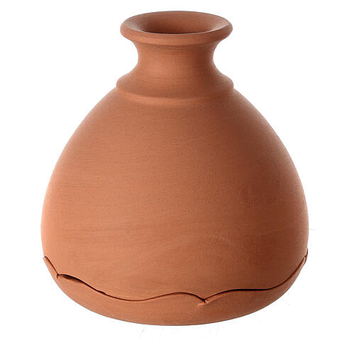 Vase with Holy Family two-toned Deruta terracotta 10 cm 3