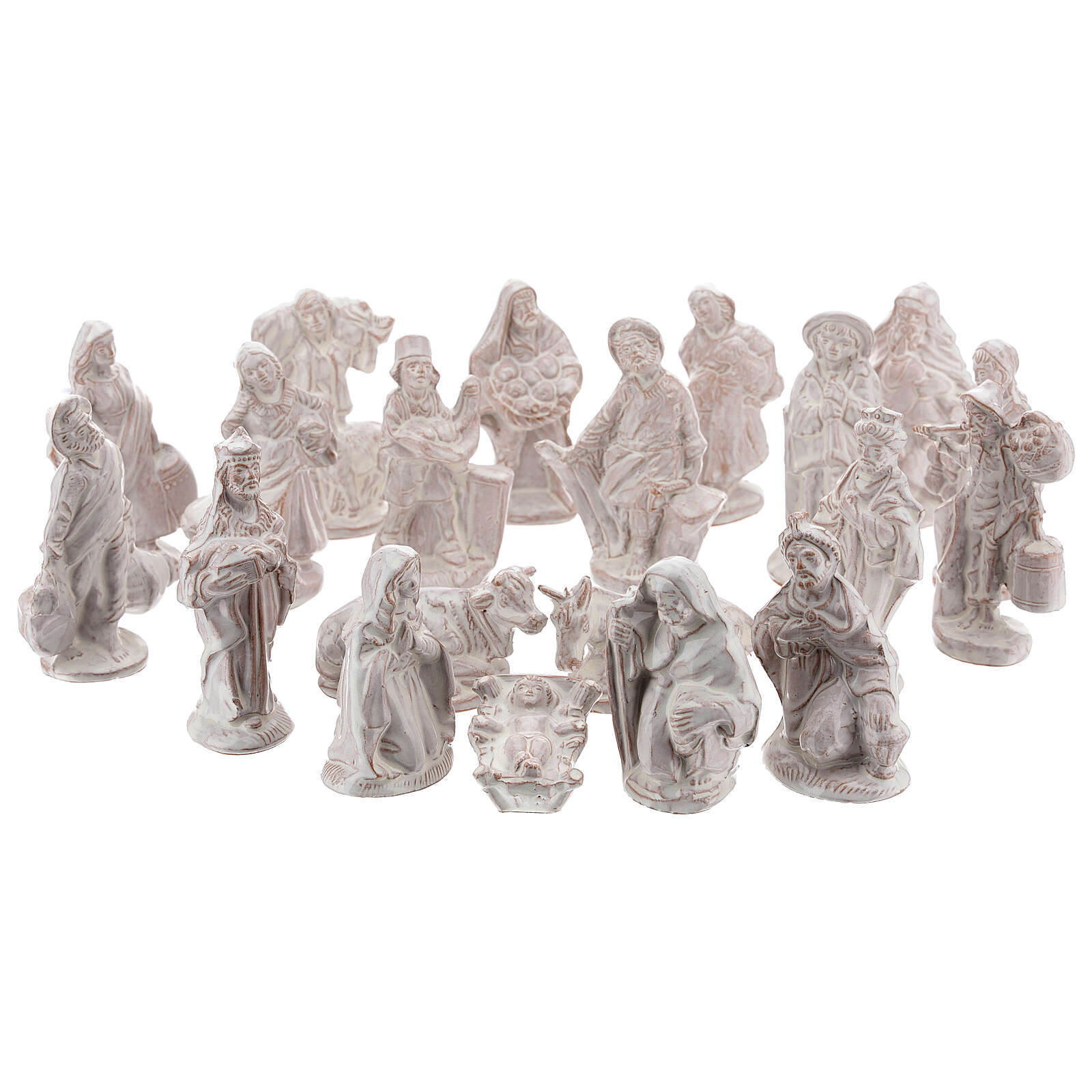 Nativity scene in white enamelled Deruta complete 20 pieces 10 cm 4