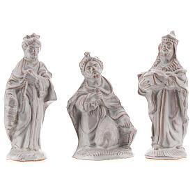 Nativity scene in white enamelled Deruta complete 20 pieces 10 cm s3