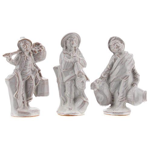 Nativity scene in white enamelled Deruta complete 20 pieces 10 cm 5