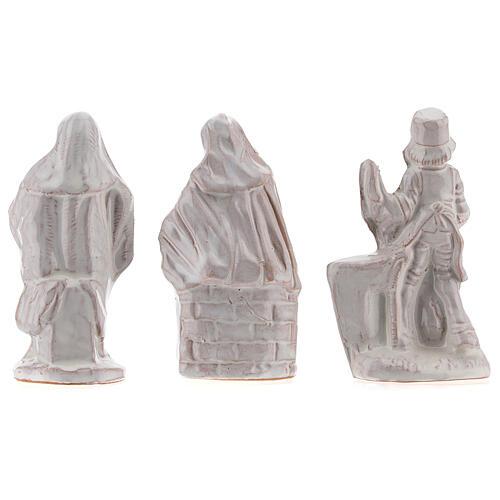 Nativity scene in white enamelled Deruta complete 20 pieces 10 cm 9