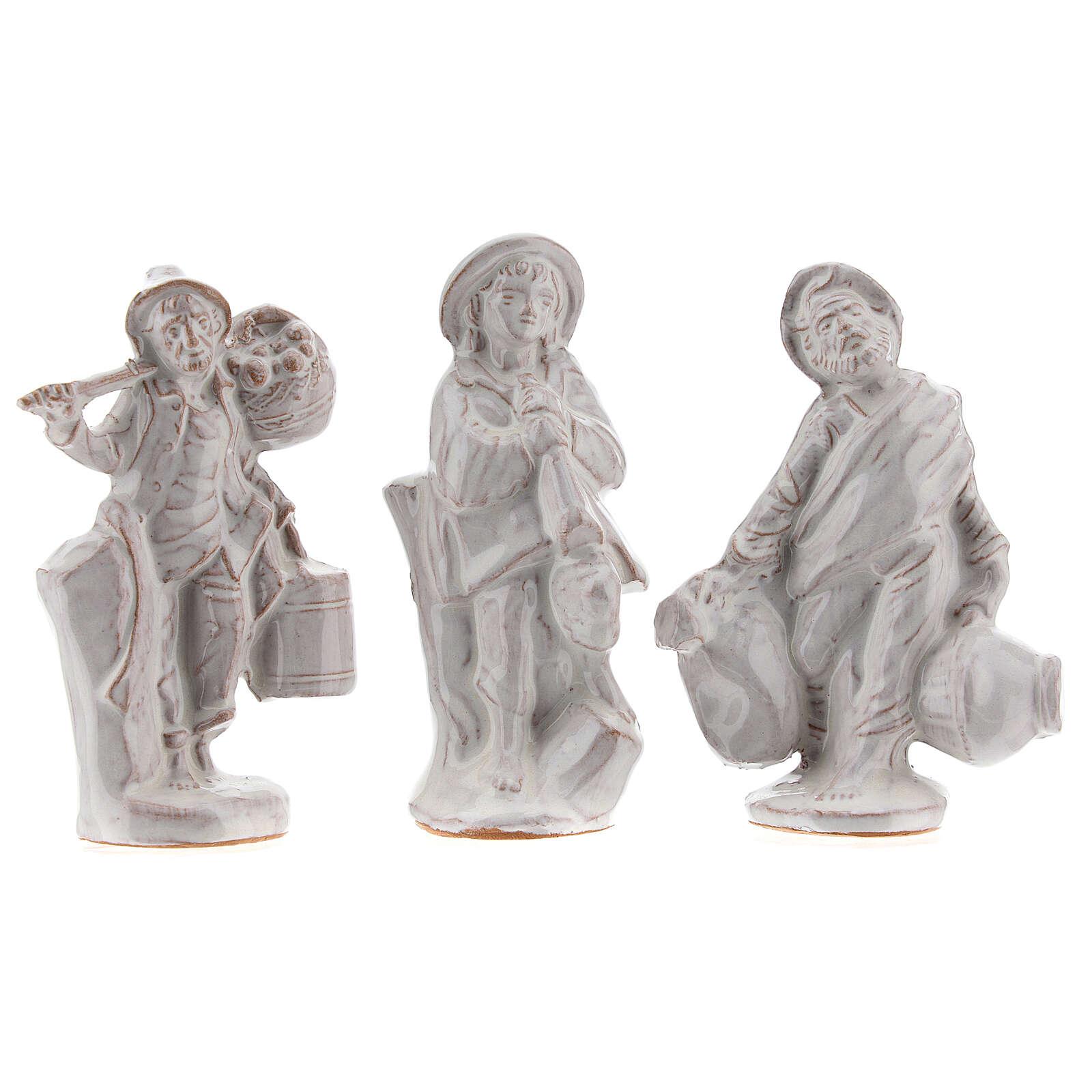 Complete Nativity set in white Deruta terracotta 20 pcs 10 cm 4