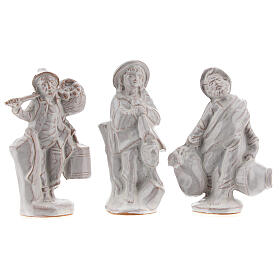 Complete Nativity set in white Deruta terracotta 20 pcs 10 cm s5
