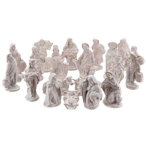 Complete Nativity set in white Deruta terracotta 20 pcs 10 cm 1