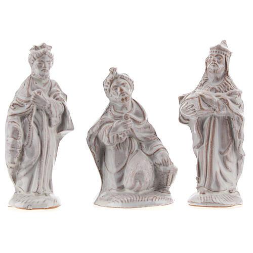Complete Nativity set in white Deruta terracotta 20 pcs 10 cm 3