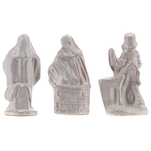 Complete Nativity set in white Deruta terracotta 20 pcs 10 cm 9