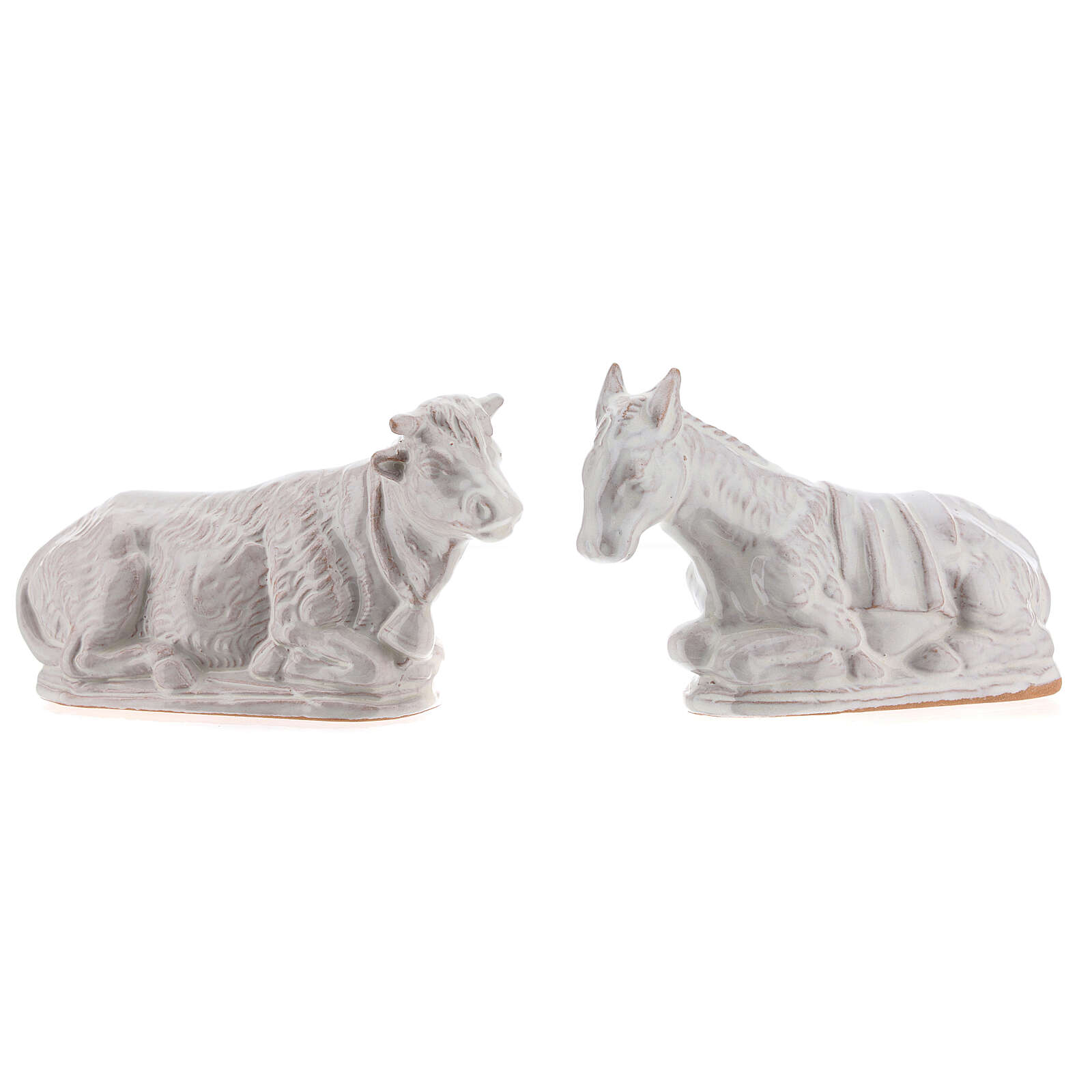 Presepe terracotta smaltata bianca Deruta completo 15 pezzi 15 cm 4
