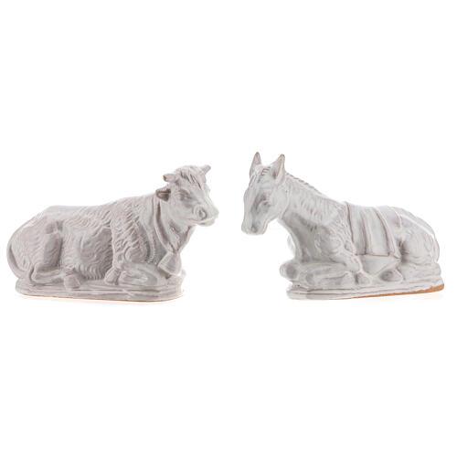 Presepe terracotta smaltata bianca Deruta completo 15 pezzi 15 cm 7