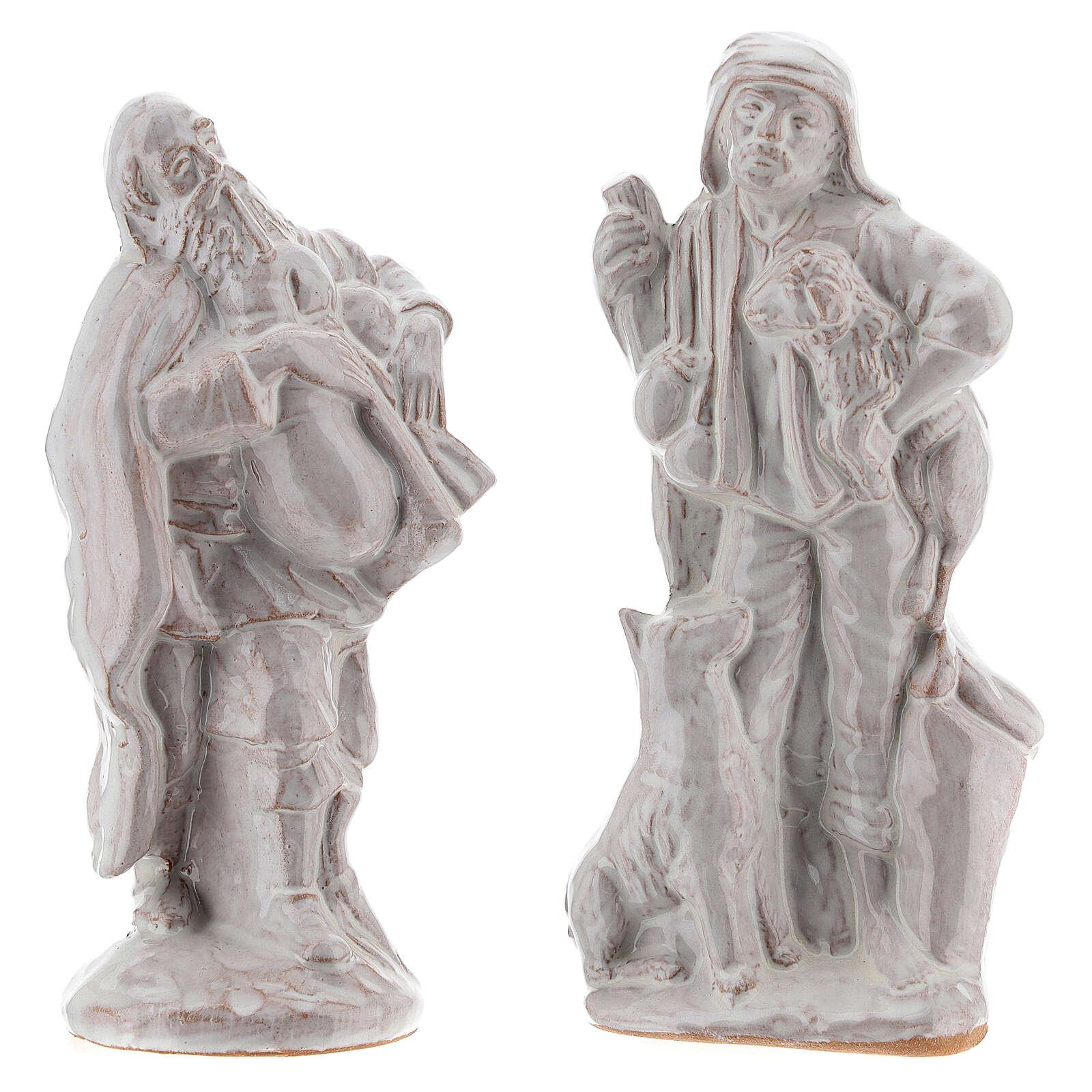 Nativity scene set in white Deruta terracotta 15 pcs 15 cm 4
