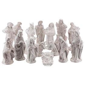 Nativity scene set in white Deruta terracotta 15 pcs 15 cm s1