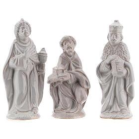 Nativity scene set in white Deruta terracotta 15 pcs 15 cm s3