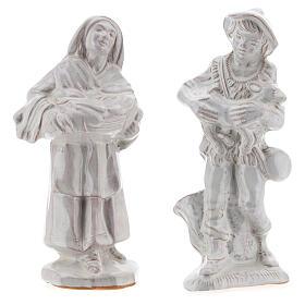 Nativity scene set in white Deruta terracotta 15 pcs 15 cm s6