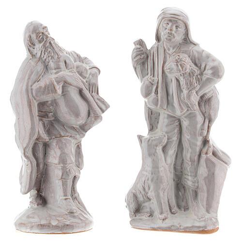 Nativity scene set in white Deruta terracotta 15 pcs 15 cm 5