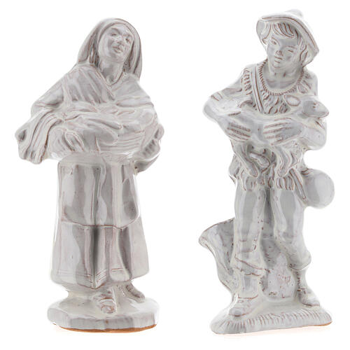 Nativity scene set in white Deruta terracotta 15 pcs 15 cm 6