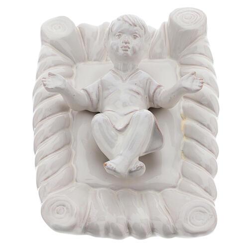 Presepe terracotta Deruta smalto bianco 30 cm 5 pezzi 2