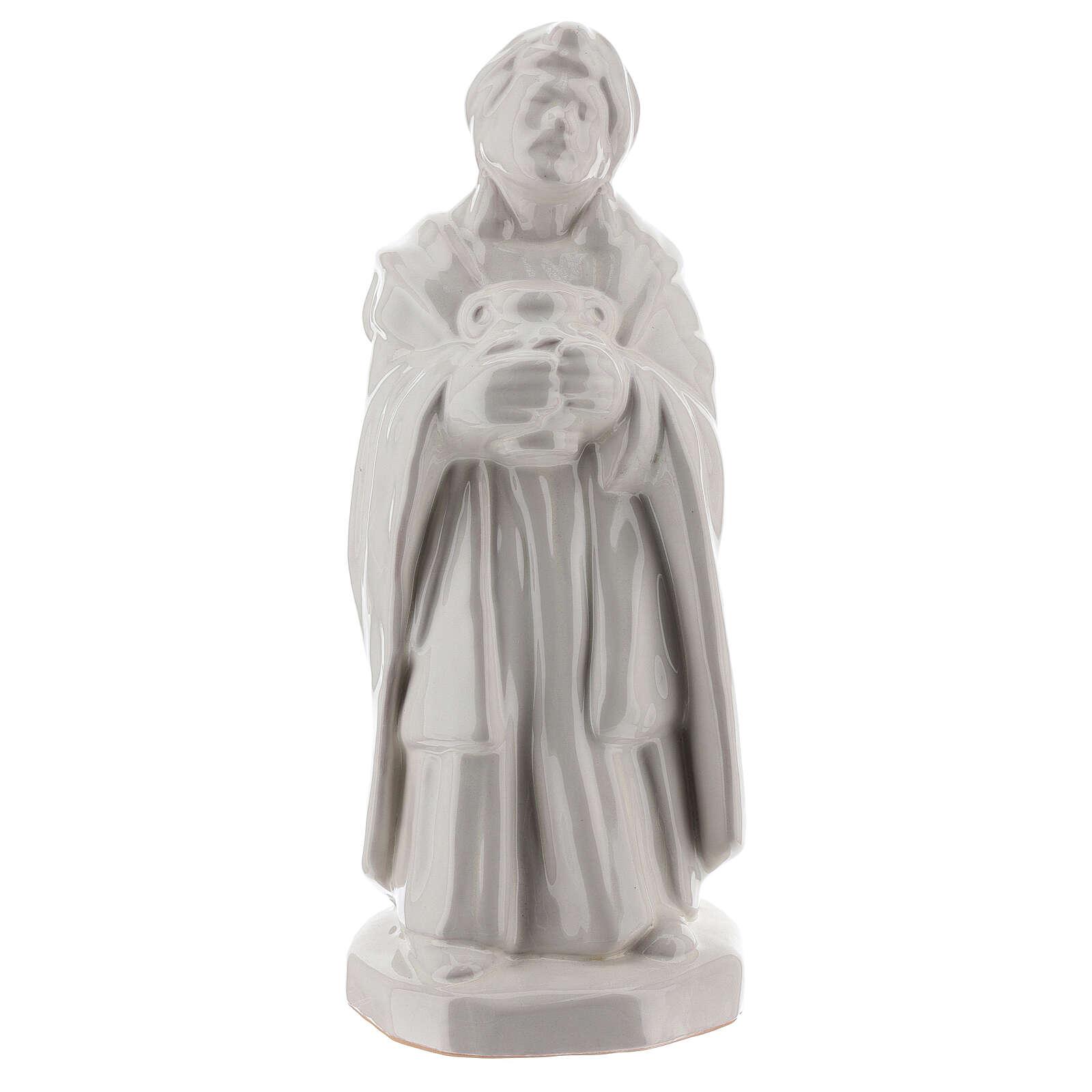 Tres Reyes Magos belén terracota Deruta 30 cm esmalte blanco 4