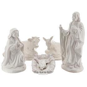Nativity scene 40 cm white terracotta Deruta 5 pcs s1