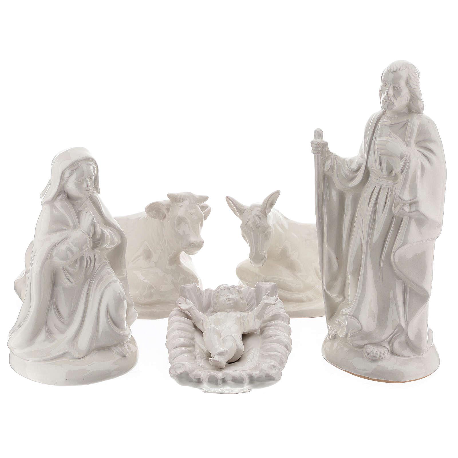 Crèche Nativité 40 cm terre cuite blanche Deruta 5 pcs 4