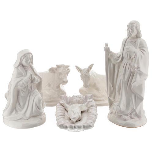Crèche Nativité 40 cm terre cuite blanche Deruta 5 pcs 1