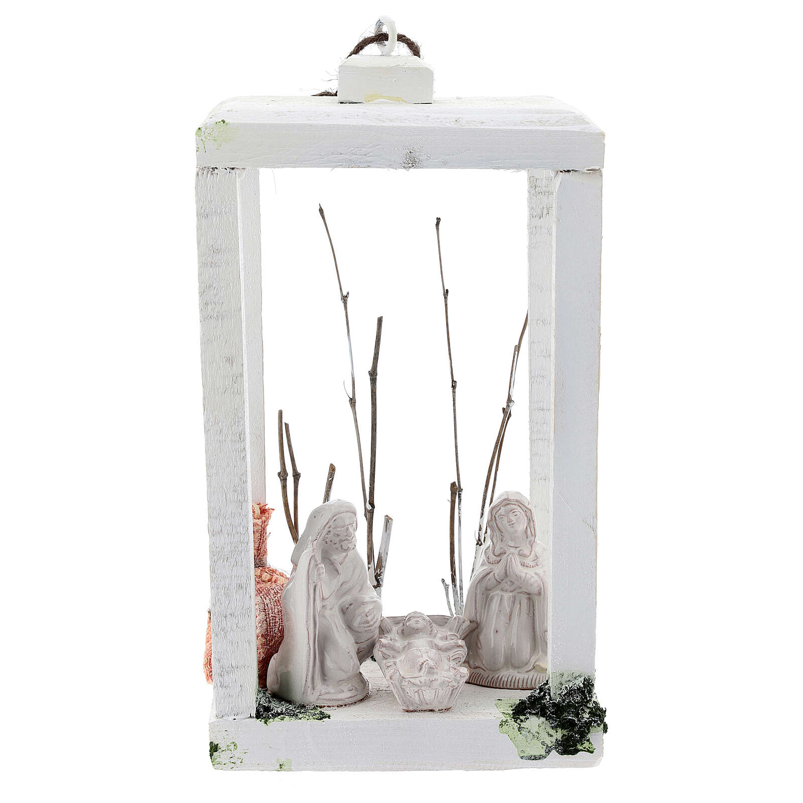 Wooden lantern with Nativity 8 cm in white Deruta terracotta 23x15x10 4