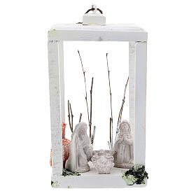 Wooden lantern with Nativity 8 cm in white Deruta terracotta 23x15x10 s1