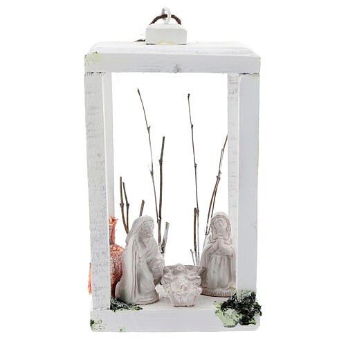 Wooden lantern with Nativity 8 cm in white Deruta terracotta 23x15x10 1