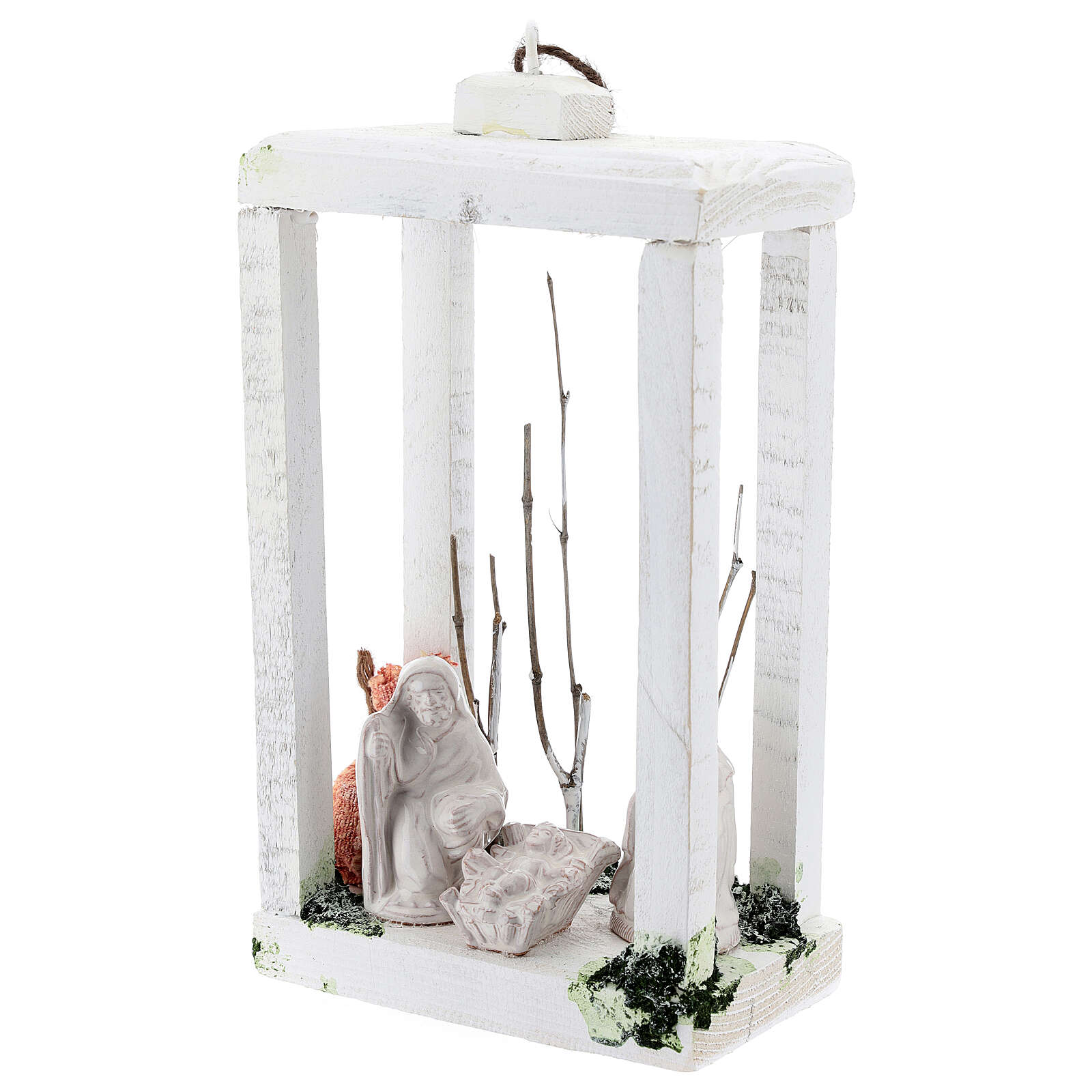 Wood lantern with Holy Family 8 cm white Deruta terracotta 23x15x10 4