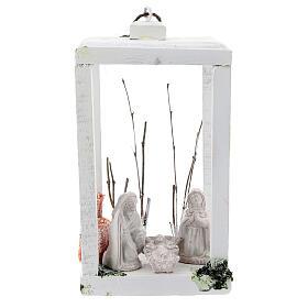 Wood lantern with Holy Family 8 cm white Deruta terracotta 23x15x10 s1