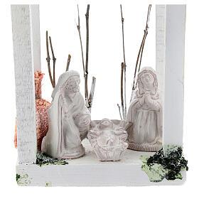 Wood lantern with Holy Family 8 cm white Deruta terracotta 23x15x10 s2