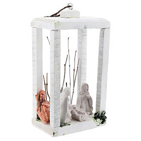 Wood lantern with Holy Family 8 cm white Deruta terracotta 23x15x10 s4
