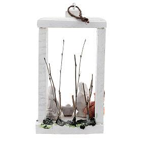 Wood lantern with Holy Family 8 cm white Deruta terracotta 23x15x10 s5