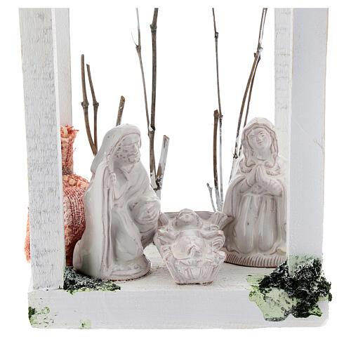 Wood lantern with Holy Family 8 cm white Deruta terracotta 23x15x10 2