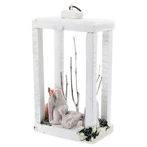 Wood lantern with Holy Family 8 cm white Deruta terracotta 23x15x10 3