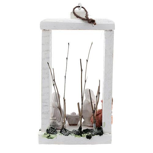 Wood lantern with Holy Family 8 cm white Deruta terracotta 23x15x10 5
