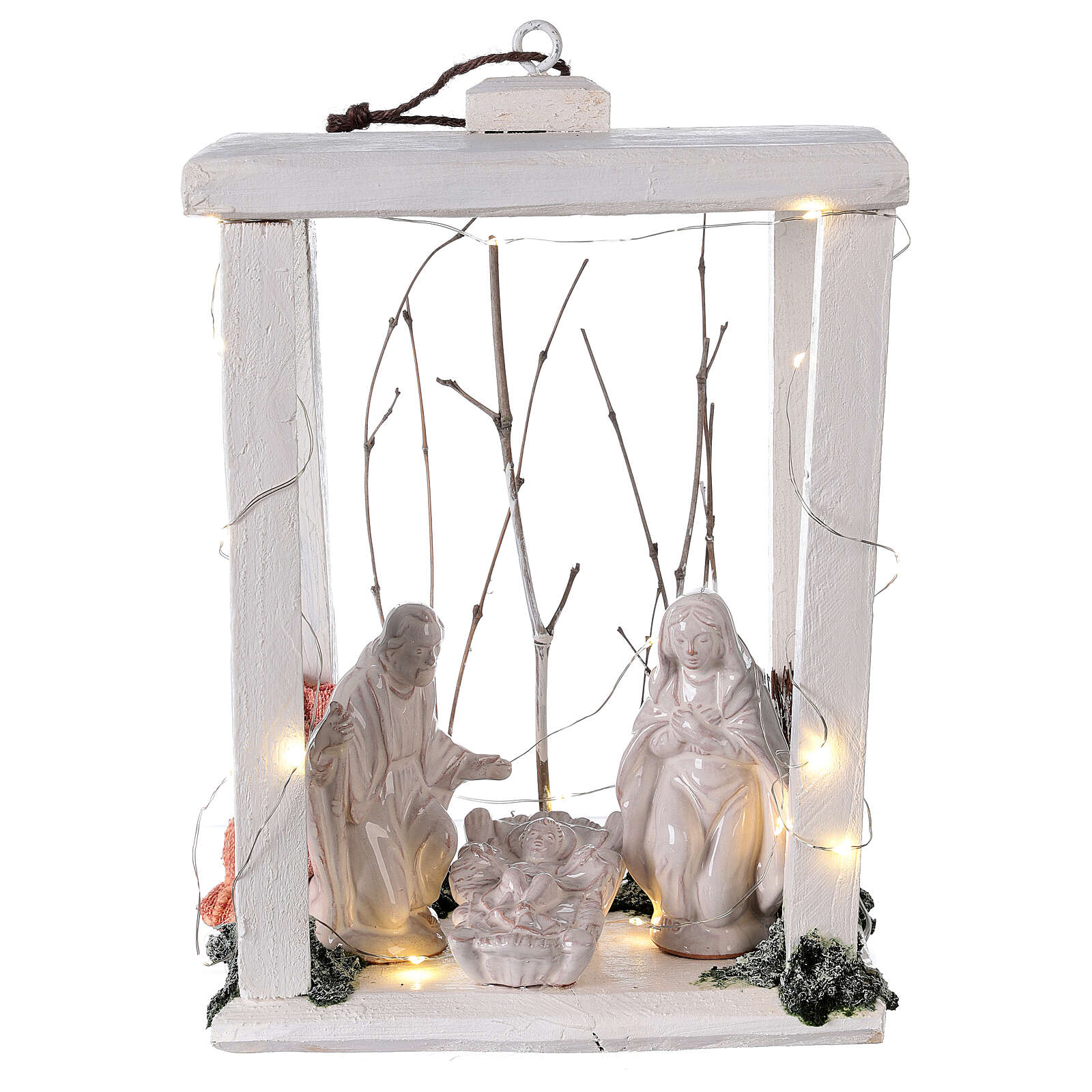 Wooden lantern with Holy Family in Deruta terracotta 30x22x18 micro LED light 4